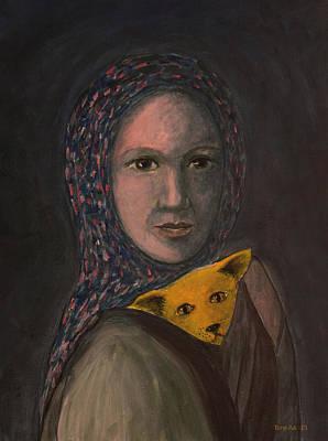 Refugee Girl Painting - Encountering I Am by Tone Aanderaa