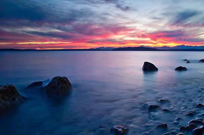 End Of Day At Alki Beach Print by Dan Mihai
