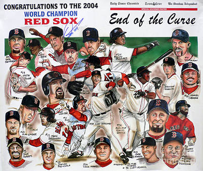 Red Drawing - End Of The Curse Red Sox Newspaper Poster by Dave Olsen