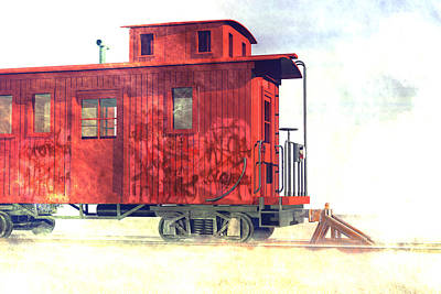Caboose Digital Art - End Of The Line by Carol and Mike Werner