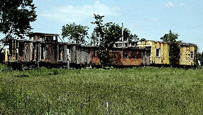 Old Caboose Digital Art - End Of The Line by Don and Sheryl Cooper