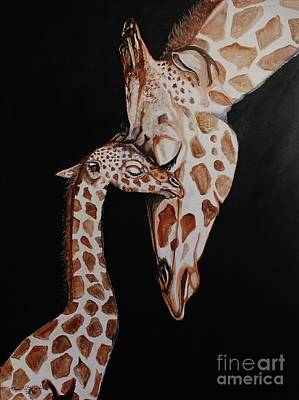 Mother And Baby Giraffe Painting - Endearment by Anne Buffington