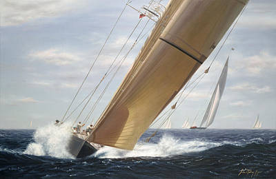 J Boat Painting - Endeavour Full Bore by Julia O'Malley-Keyes