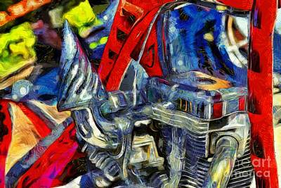 Bike Painting - Engine Of Harley-davidson Chopper by George Atsametakis