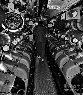 Royal Australian Navy Photograph - Engine Room Bw by Tim Richards