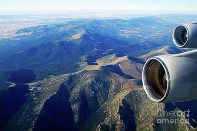 Passenger Plane Photograph - Engines Of An Aeroplane While Mid-air by Sami Sarkis
