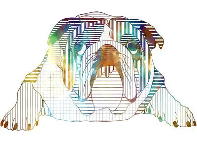 Bulldog Art Digital Art - English Bulldog Dog Art by Shara Lee