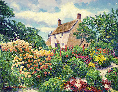 Kent Painting - English Cottage Garden by David Lloyd Glover