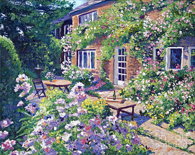 Country Cottage Painting - English Courtyard by David Lloyd Glover