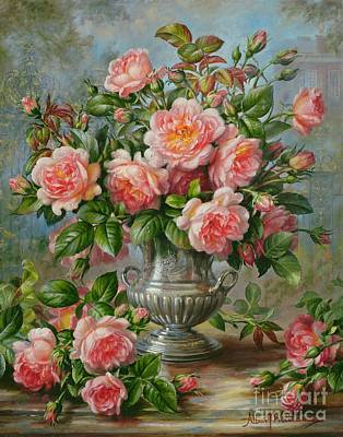 Wales Painting - English Elegance Roses In A Silver Vase by Albert Williams