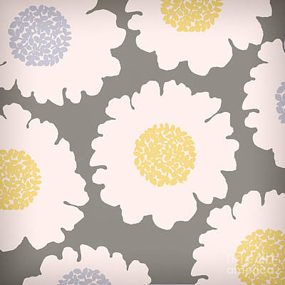 English Garden White Flower Pattern Print by Mindy Sommers