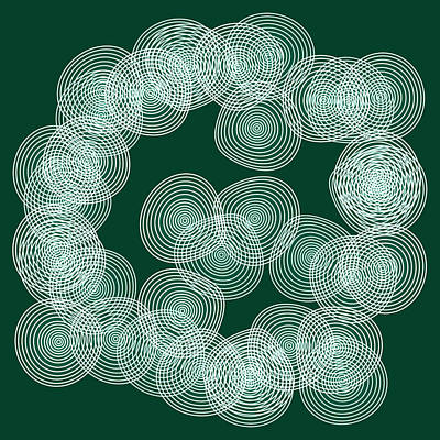 Oversized Painting - English Green Abstract Circles Square by Frank Tschakert