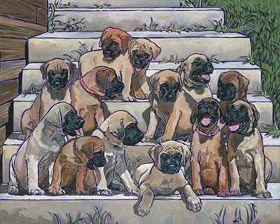 English Mastiff Puppies Print by Nadi Spencer