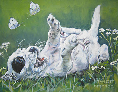 Cabbage Painting - English Setter Puppy And Butterflies by Lee Ann Shepard