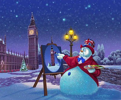 Big Ben Painting - English Snowman by Michael Humphries