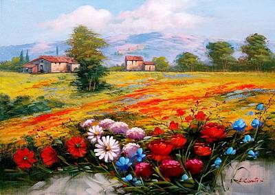 Tuscan Sunset Painting - Enjoy And Colors Tuscany Landscape 01 by Luigi Conte