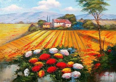 Tuscan Sunset Painting - Enjoy And Colors Tuscany Landscape 02 by Luigi Conte