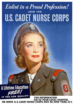 Patriotic Mixed Media - Enlist In A Proud Profession - Join The Us Cadet Nurse Corps by War Is Hell Store