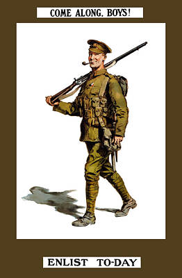 Enlist To-day - World War 1 Print by War Is Hell Store