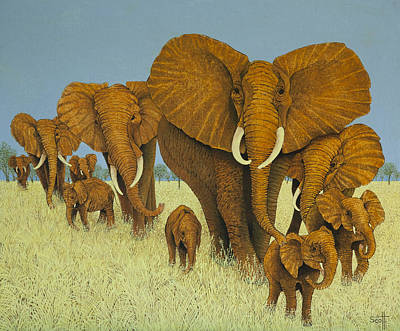 Mother Elephant Painting - Enormous But Caring by Pat Scott