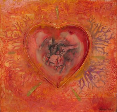 Encaustic Painting - Enshrine - Outward Heart by Janelle Schneider