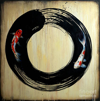 Ink Painting - Enso With Koi by Sandi Baker