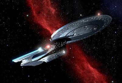 Enterprise Digital Art - Enterprise Crossing The Nebula by Joseph Soiza