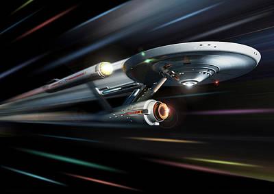 Star.star Trek Digital Art - Enterprise The Original Series At Warp by Joseph Soiza