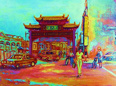 Montreal Street Life Painting - Entrance To Chinatown by Carole Spandau