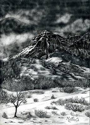Scratchboard Painting - Entrance To Garden Of The Gods by Mattie O