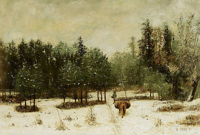 Horse And Cart Painting - Entrance To The Forest In Winter by Cherubino Pata
