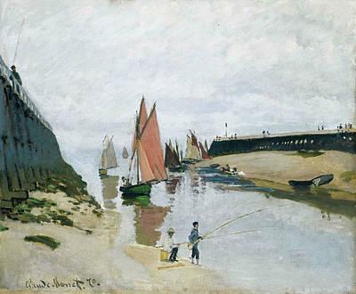 Monet Painting - Entree Du Port De Trouville by Claude Monet