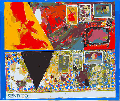 Xerox Art Mixed Media - Envelopes Frida Kahlo With Red And Yellow Abstraction by F Burton