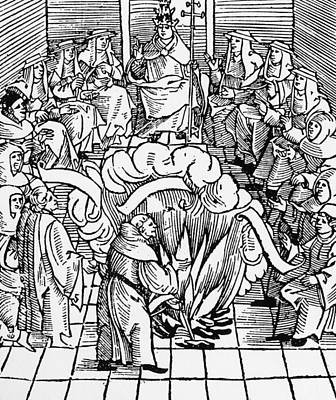 Papacy Drawing - Leo X Supervising Burning Of Martin Luther's Books by Unknown