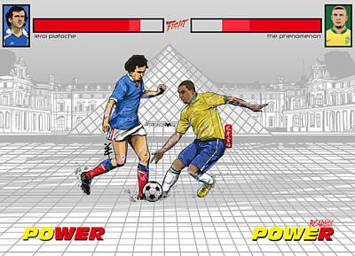 Soccer Digital Art - Epic Battle Leroi Platoche Vs The Phenomenon by Akyanyme