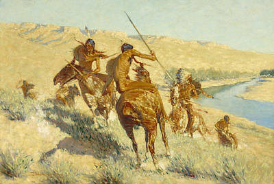 Buffalo River Painting - Episode Of The Buffalo Gun by Frederic Remington