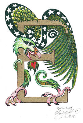 Epsilon Eagle In Green And Gold Print by Melinda Dare Benfield