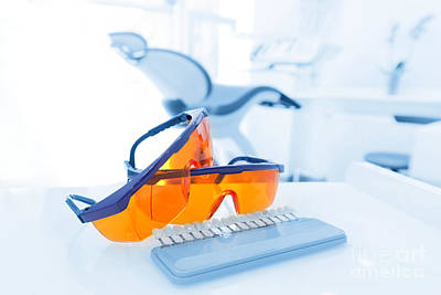 Accessory Photograph - Equipment And Dental Instruments In Dentist's Office. Googles by Michal Bednarek