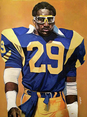 Lakers Painting - Eric Dickerson Los Angeles Rams by Michael  Pattison