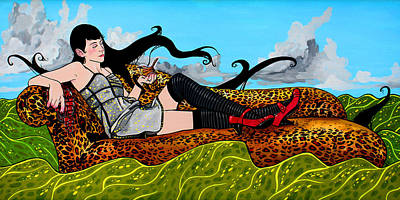 Erica Floating On The Sea On A Chaise Lounge Original by Jason  Wright