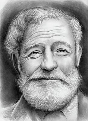 Paris Drawing - Ernest Hemingway by Greg Joens