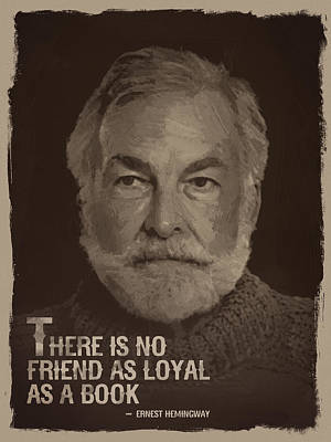 Sepia Digital Art - Ernest Hemingway Quote by Afterdarkness