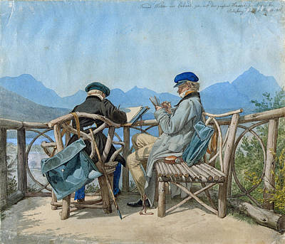 Drawing - Ernst Welker And Johann Christian Erhard On A Seat In Aigen by Johann Adam Klein