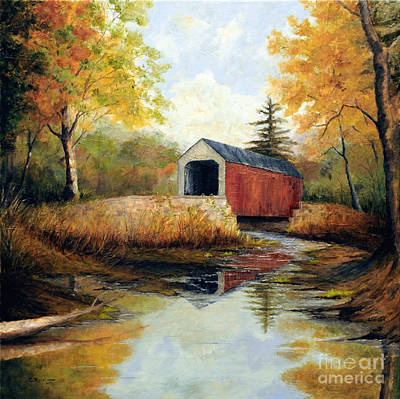 Covered Bridge Painting - Erwinna Covered Bridge by Cindy Roesinger