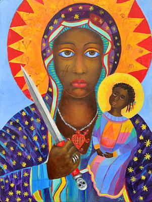 Erzulie Dantor Haitian Voodoo Loa, Petro Lwa, Black Virgin, Black Madonna. New Orleans Voodoo Queen. Print by Magdalena Walulik