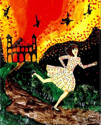 Sue Burgess Painting - Escape From The Burning House by Sushila Burgess