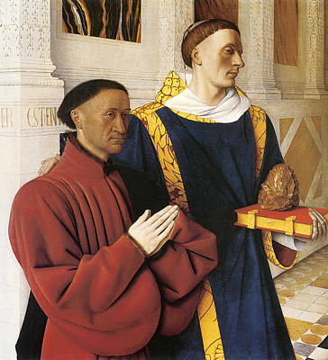 Religious Art Painting - Estienne Chevalier With St. Stephen by Jean Fouquet