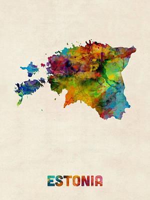 Estonia Watercolor Map Print by Michael Tompsett