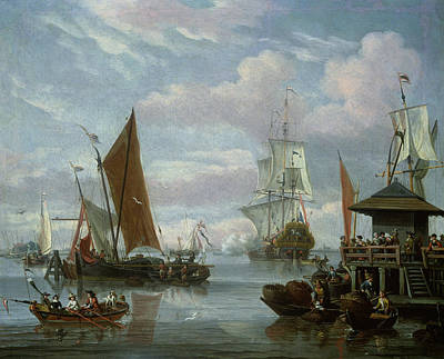 Estuary Scene With Boats And Fisherman Print by Johannes de Blaauw
