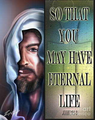 Jesus Face Painting - Eternal Life 2 by Reggie Duffie